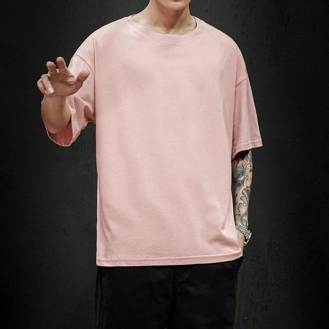 New Summer Men's T Shirt 2021 Fashion Solid T Shirt Mens Oversized Hip Hop Short Sleeve Casual Cotton Mens Streetwear Top Tees 1