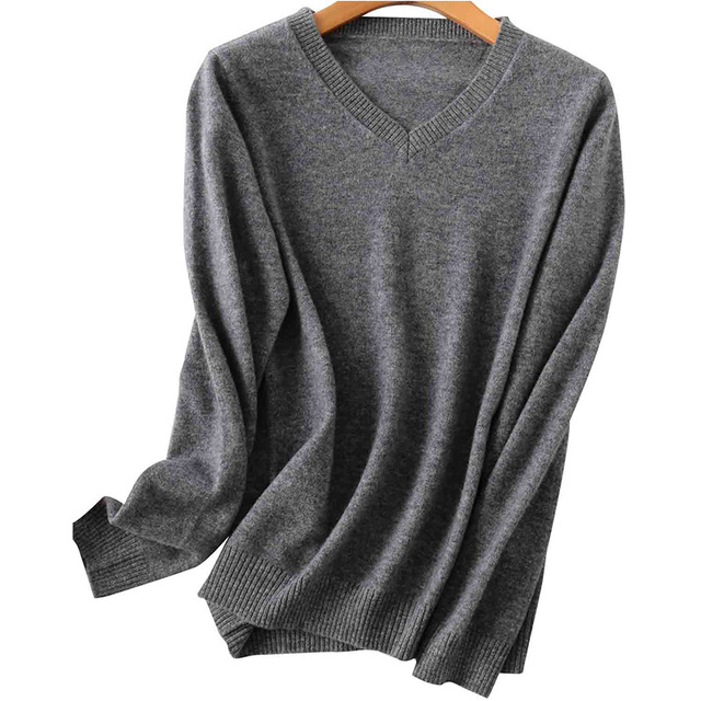 100% Merino Wool Women V-Neck Sweater 2020 Autumn Winter Warm Soft knitted Pullover Femme Jumper Women Cashmere Sweater 6