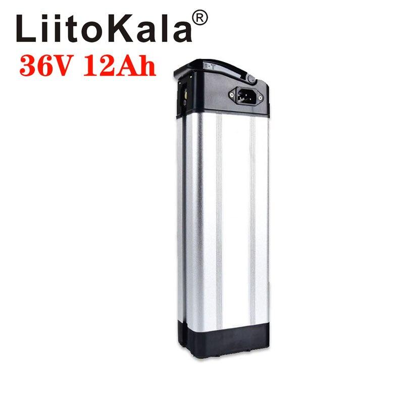 Liitokala 36 v 12ah prata peixe estilo bicicleta elétrica bateria 36 v 500 w bateria de lítio com caixa de alumínio