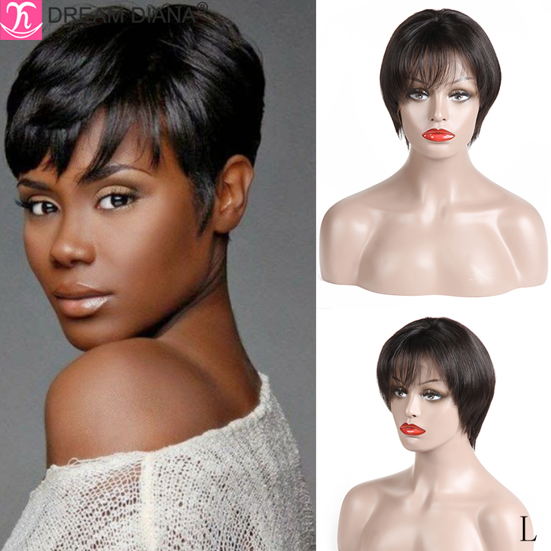 DreamDiana Brazilian Short Straight Human Hair Wigs 8