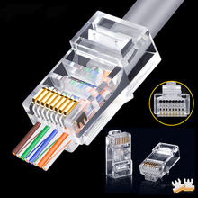 50 pces rj45 conector cat5e cat6 conector rede unshielded 8pin modular utp rj45 plugues têm furo hy1525