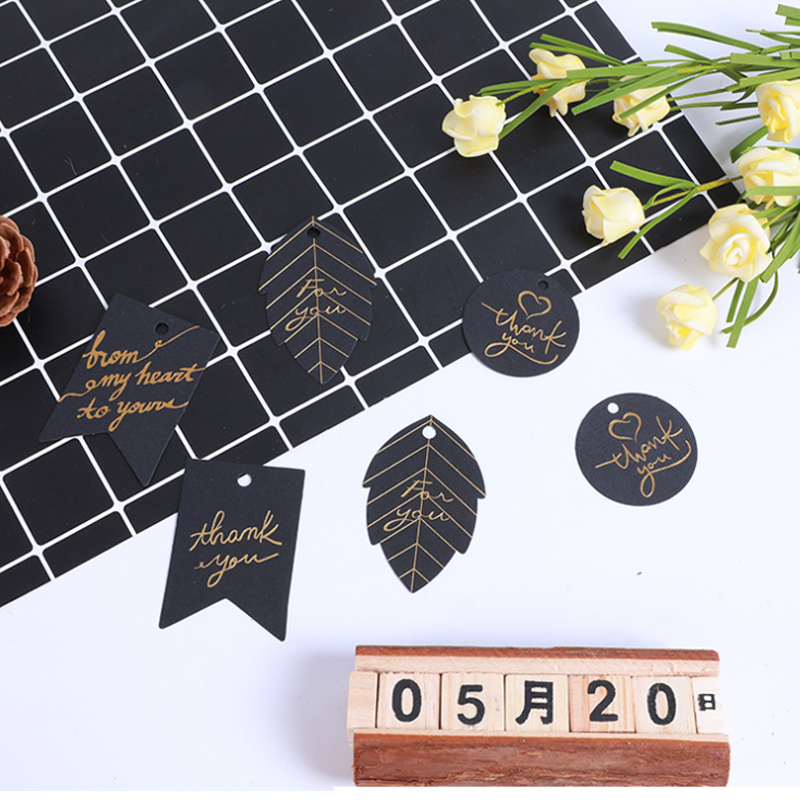 100pcs/lot Thank You Black And Golden Gift Greeting Decoration Card With Small Holes Hangable