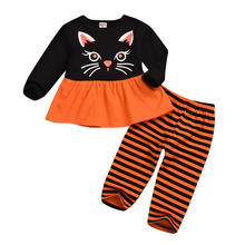 Autumn Baby Girls Casual Long Sleeve Cartoon Print T-shirt Tops+Stripe Pants Suits Costume Set autumn baby girls casual long sleeve cartoon print t shirt tops stripe pants suits costume set