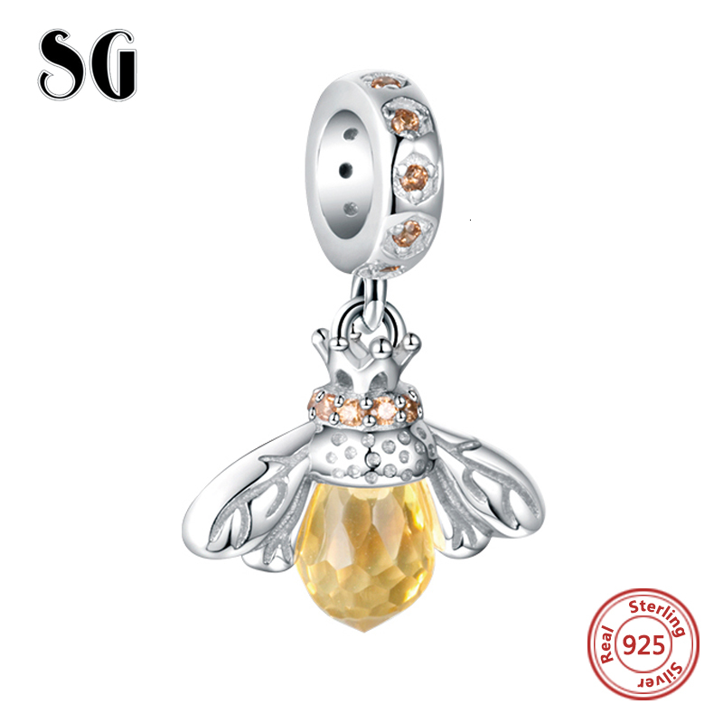 SG Bee Charm pandora with Yellow Crystal Charm bead 925 Sterling Silver Fashion Cute animal Charms for DIY Charms Bracelet in Beads from Jewelry Accessories