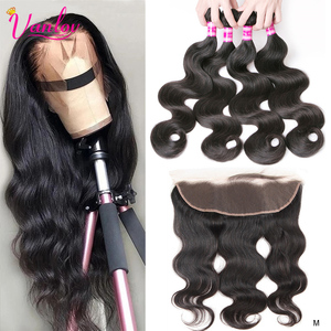 Vanlov Brazilian Body Wave Bundles With 13X4 Lace Frontal Human Hair Bundles With Frontal Closure Remy Hair Natural / Jet black