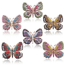 Brilliantly Coloured Rhinestone Butterfly Brooches For Women Clothes Accessories Cute Insect Brooch Pin Crystal Jewelry Gift enamel crystal tortoise owl butterfly brooches female insect animal brooch pin for women fashion jewelry clothes accessories