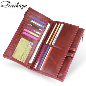 Image 4 - DICIHAYA Brand Genuine Leather Women Wallet Red Purse Ladies Clutch Purses Card Holder Women Phone Bags Double Zippers Wallets