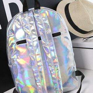 Image 5 - Laser Backpack Women Fashion Travel Bags 2019 Backpack New Women Backpack PU leather Holographic Backpack Girls Shoulder Bag