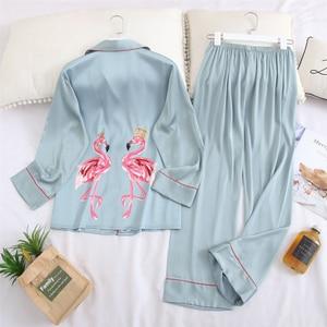 Image 2 - Fiklyc underwear long sleeve 2020 spring womwn pejamas pijamas invierno mujer silk pijama flamingo satin pajamas sets conjuntos
