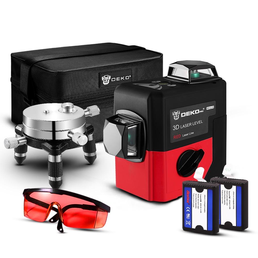 DEKO LL12-HV, 12 линий, 3D лазерный уровень, самонивелирующийся, 360 градусов, горизонтальный и вертикальный крест, мощный, открытый, можно использовать детектор