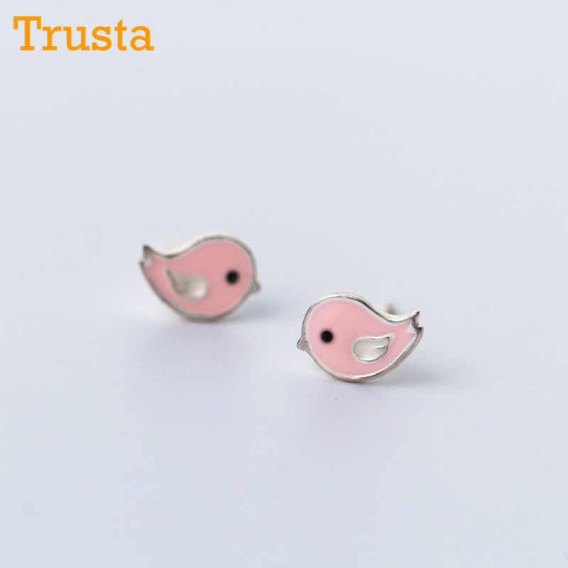 Trusta 100% 925 Soild Sterling Silver Earring Fashion Glaze Pink Birds 8mmX6mm Stud Earrings Gift For School Girls Kids DS616
