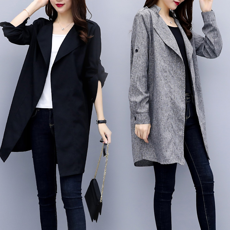 Milinsus autumn Large size Womens clothing Fashion Slim casual Solid color elegance Long section sleeve No button coat