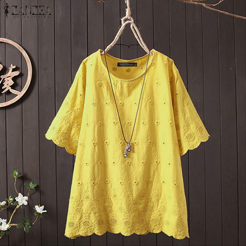 ZANZEA Summer Hollow Out Tops Women Blouse Vintage Embroidery Short Sleeve Blusas Femininas Solid Cotton Linen Shirts Robe Femme