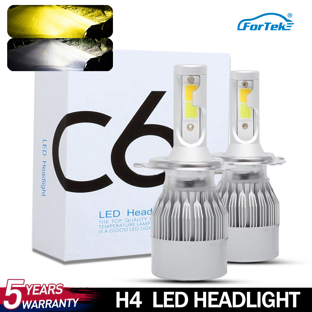 FORTEK C6 Car Headlight Low Beam <font><b>Yellow</b></font> Color High Beam White Color 6000K 3000K <font><b>LED</b></font> <font><b>H4</b></font> <font><b>Bulb</b></font> 72W 8000lm Auto Lamps Lights 12V image
