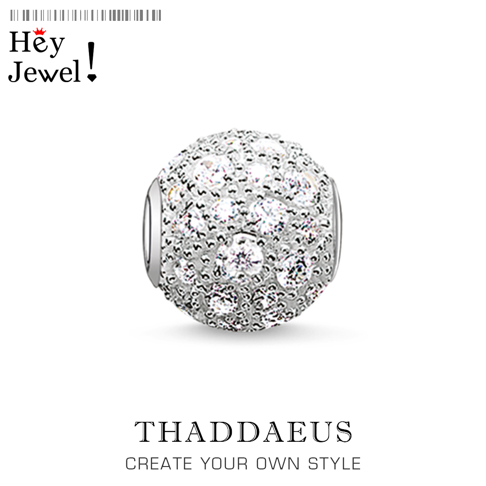 Beads White Crushed Pave, 925 Sterling Silver & Rhinestone Beads Fits Bracelet Thomas Jewelry Accessories Gift For Women & Men