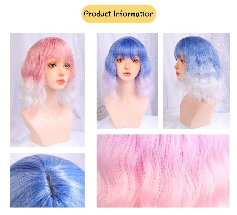Shangke perucas de cabelo curto sintético, ondulado,