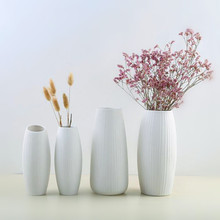 1pcs White Ceramic Flower Pot Nordic Modern Simple Vases Artificial Dried Flowers Holder Home Decoration Creative Gift