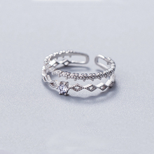 s925 Sterling Silver Double Layers Ring,Crystal Rhinestone Pave Flower Ring Open Adjustable for Women Jewelry