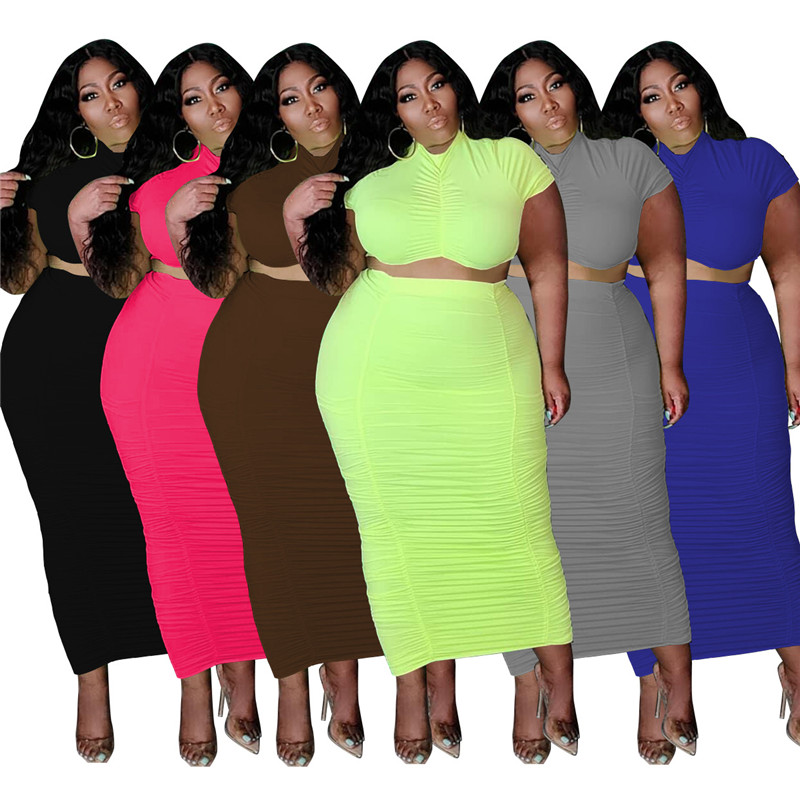 Wholesale Dropshipping Two Piece Set Plus Size Skirts Sets Women  Solid Drape Short Sleeve Crop Top and Maxi Skirt Matching Set