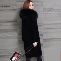 New S 5XL Oversized Faux Fur long Coat Lady imitation Fox Fur Collar Hooded Winter Fur Coat black Plus size Outerwear