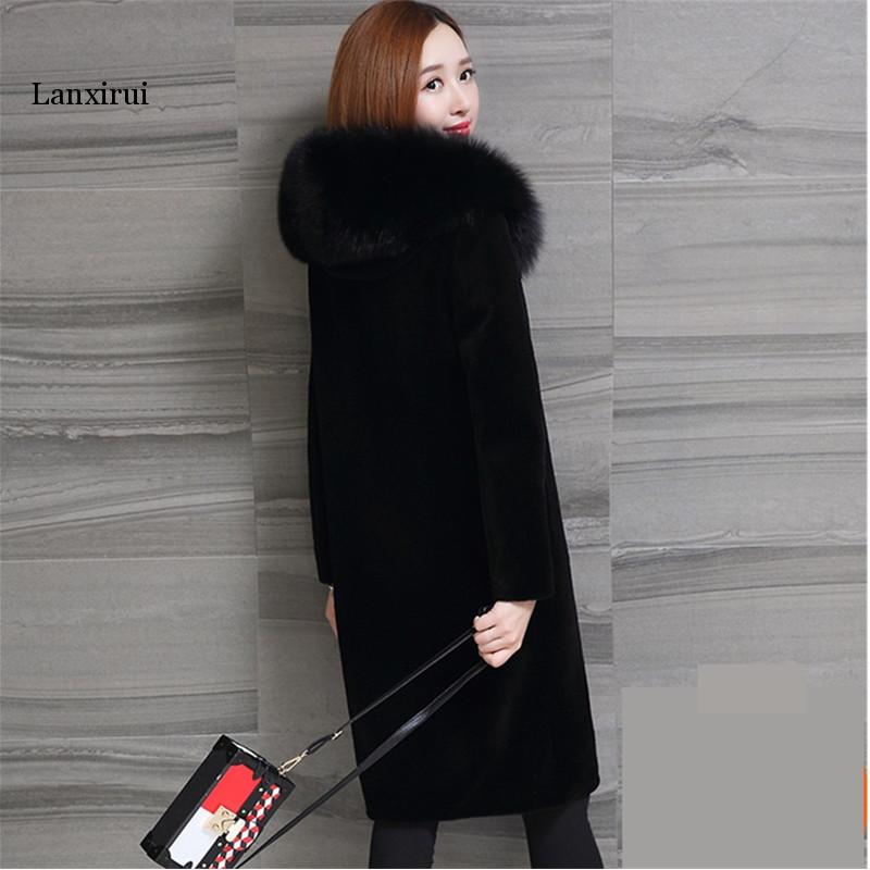 New S-5XL Oversized Faux Fur Long Coat Lady Imitation Fox Fur Collar Hooded Winter Fur Coat Black Plus Size Outerwear