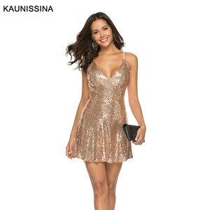Image 2 - KAUNISSINA セクシーなショートスパンコールカクテルドレスクラブパーティーガウンスパゲッティストラップ V ネックバックレスゴールドホームカミングのドレス