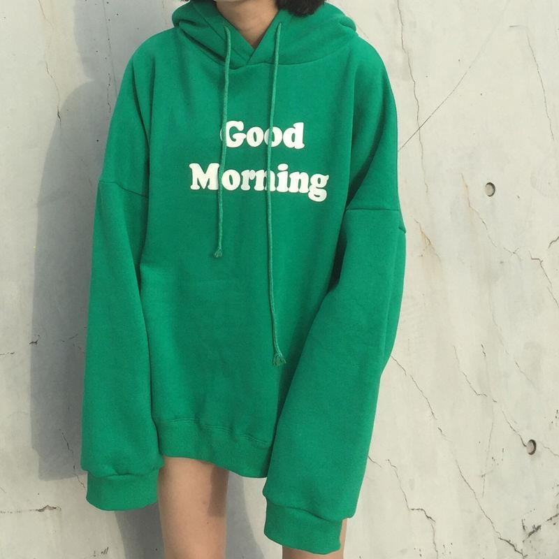 Hoodie Women's Autumn And Winter Korean-style Loose-Fit Lettered Printed Brushed And Thick BF Tops Pullover Hoody Coat Women's S