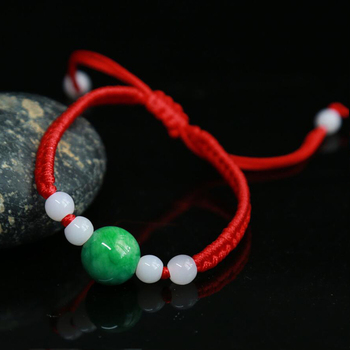 Handmade Red Rope Bracelet for Men Women Gift Lucky Bracelets & Bangles Red String with Jadeite Stone wholesale image