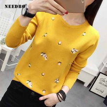 Sweater Women Oversize Pullover Knit Long Sleeve Embroidery Ladies Girl Autumn Winter Pull Femme
