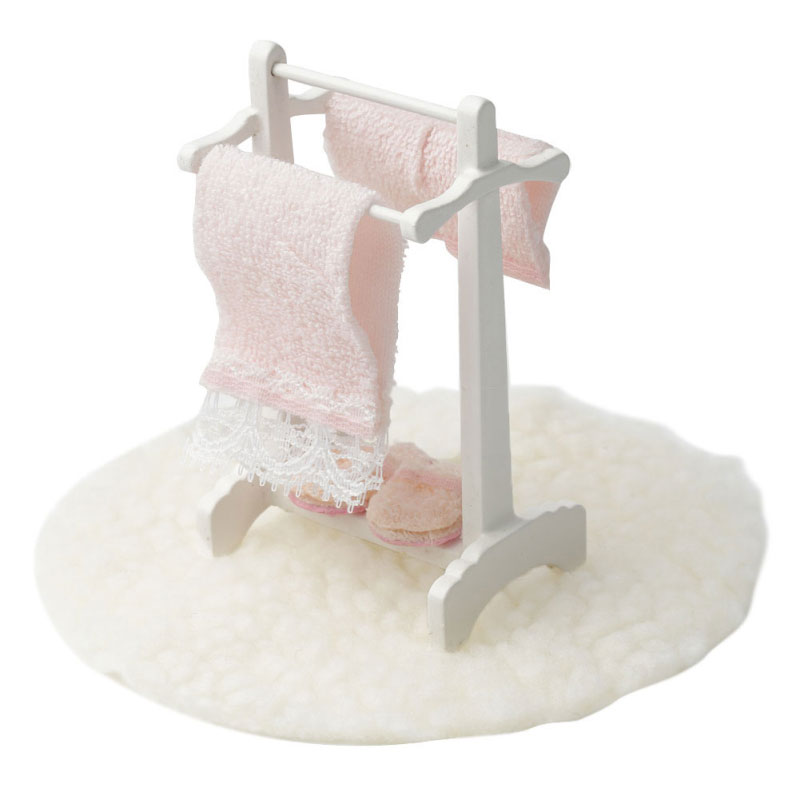 1:12 Doll House Accessories Towel Rack+white Blanket Child Puzzle Handmade Doll Toy House Accessories Dollhouse Miniature