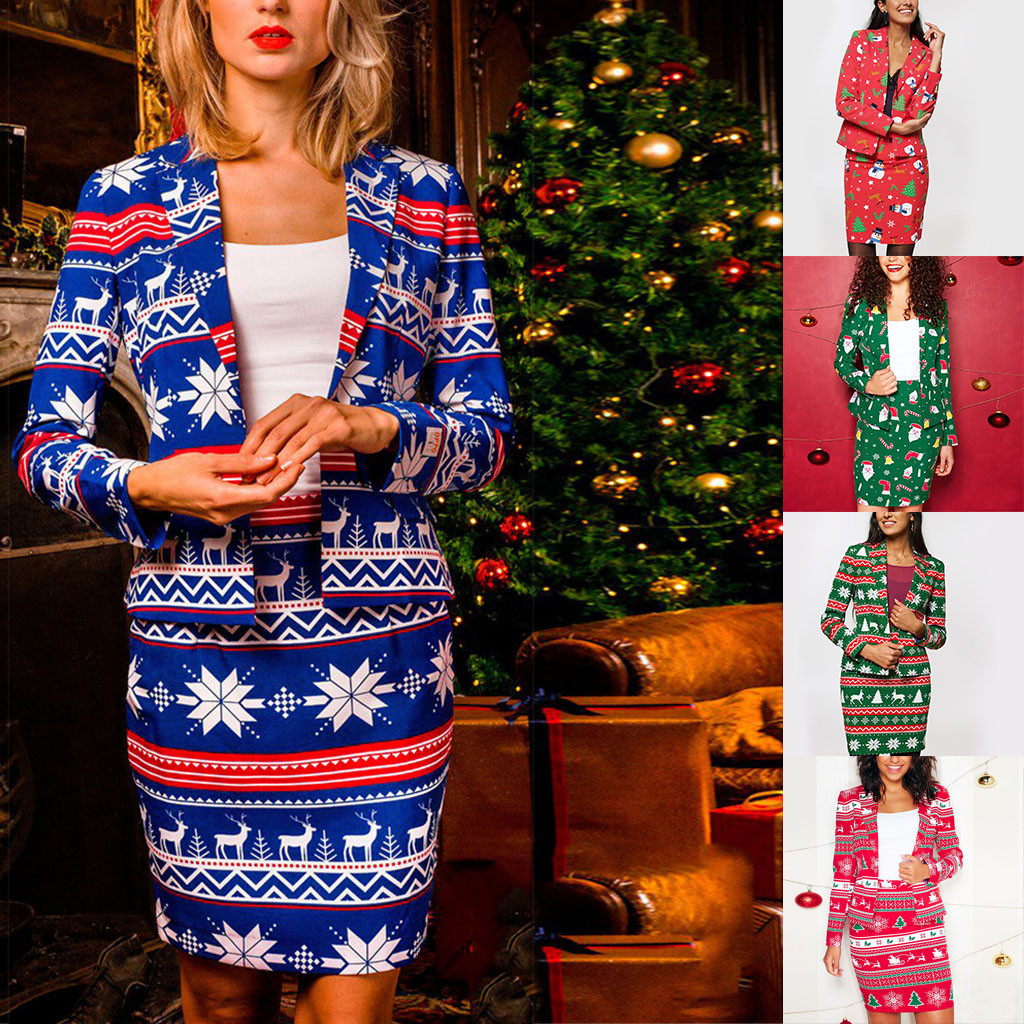 Christmas Skirt Suit Skirts Womens костюм женский Autumn And Winter Small West Fashion Print Suit Coat Suit Set Free Ship Z4