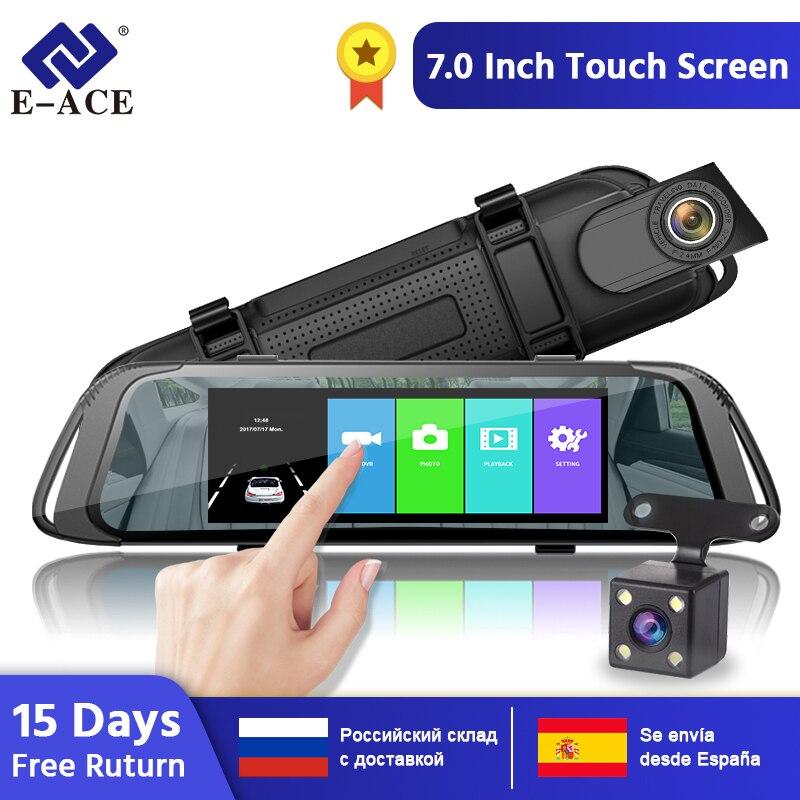 E-ACE A31 7 pouces écran tactile voiture DVR enregistreur vidéo avec vue arrière caméra miroir DVR Dash Cam enregistreur vidéo Dashcam