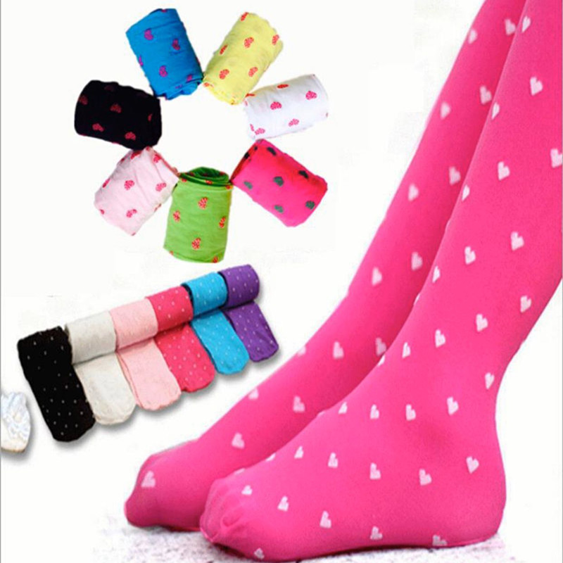 Kids Girls Footed Heart Dots Tights Stocking Ballet Candy Colors Velvet Tights Stocking 3-8Y