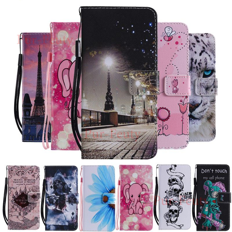 Case on for Pouzdro Huawei Y7 2019 DUB LX1 LX2 L22 Leather Cartoon Wallet stand magnetic Flip Cover for Huawei Y7 2019 Y 7 2019 image