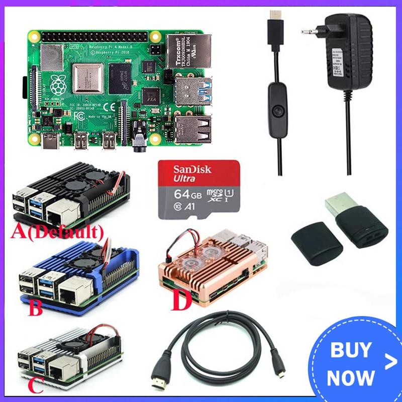 Original raspberry pi 4 modelo b kit + caso de alumínio + dissipador de calor + 3a switch power + hdmi-opção compatível 64 32gb cartão | leitor