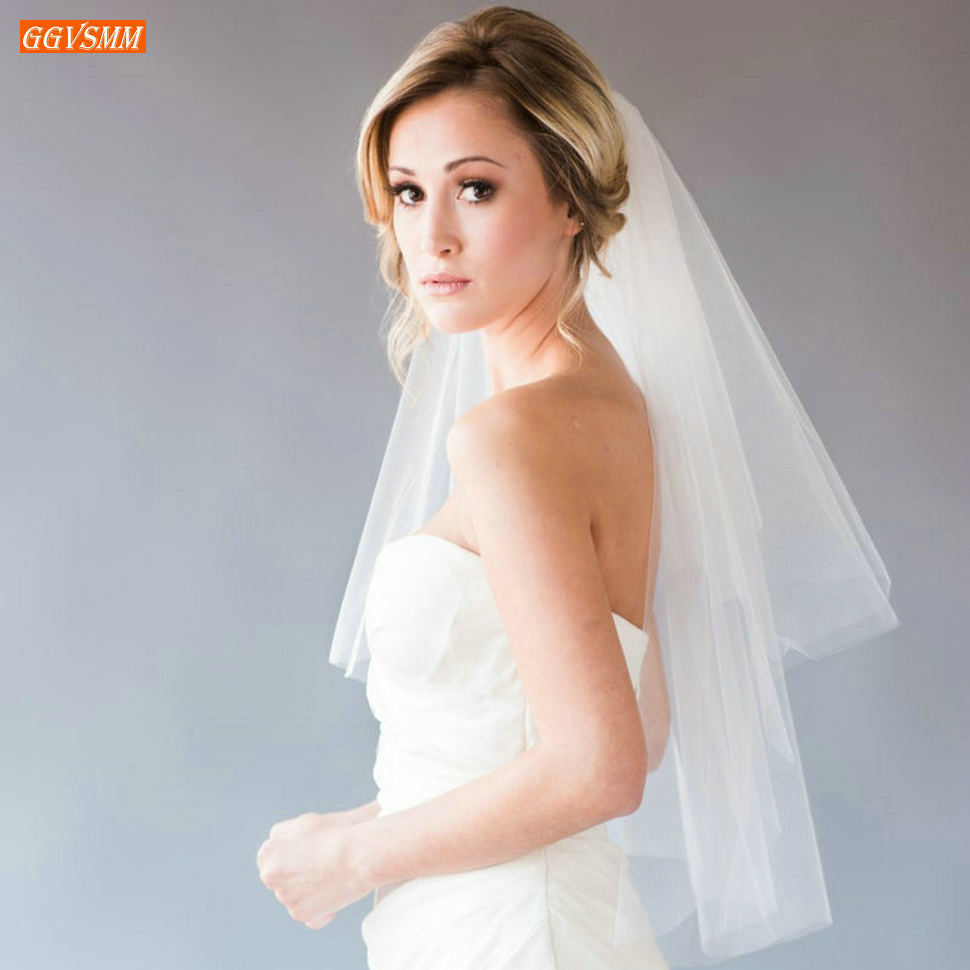 In Stock Purdah Short Wedding Veil Ivory Cheap Two Layers White Bride Veils 75 CM Soft Tulle Cut Edge Veiling Bridal Accessories