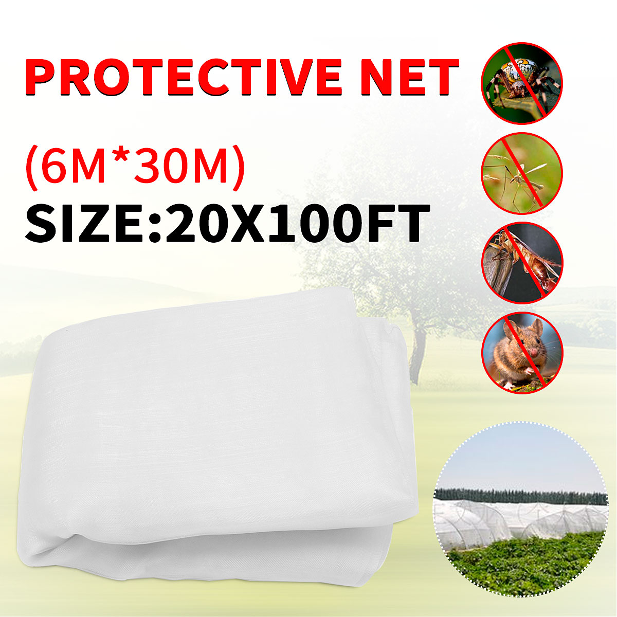 6x30m Anti Insect Bird Net Sunshade Netting Protect Orchard Garden Farm Fruit Plant Crops Vegetable Flower Mesh Multipurpose