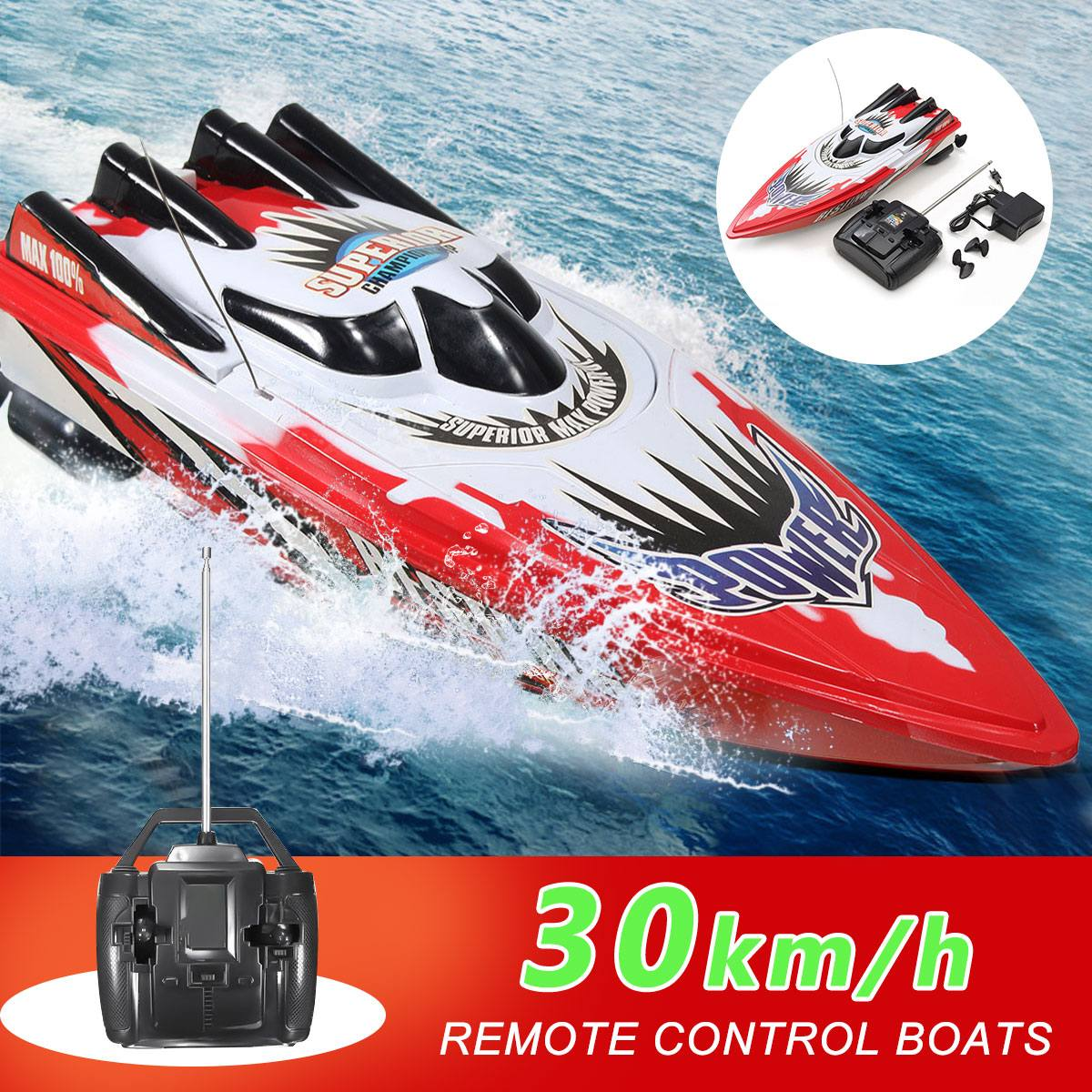 RC Boat 30km/h High Speed Racing Rechargeable Batteries Remote Control Boat For Children Toys Kids Christmas Gifts 33x11x9cm