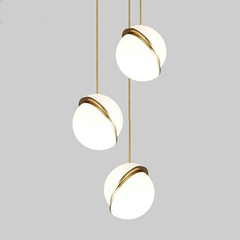 Modern Glass Ball Bubble Led Pendant Light Gold Ring Kitchen Living Room Restaurant Bedroom Home Decor  Hanging Light Fixture