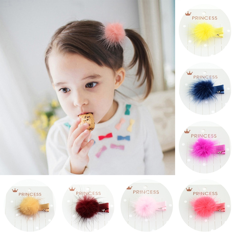 12 Pcs Korean Fur Ball Pompom Hair Clip Pin Barrettes Headwear For Baby Girls GXMB