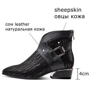 Image 2 - ALLBITEFO di pelle di pecora naturale genuino della mucca di cuoio della caviglia stivali di modo di marca della ragazza stivali di vendita calda di Autunno di Inverno delle donne casuali stivali