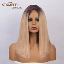 Straight Wigs Stamped Glorious Blonde 16inch Long Black Women Ombre Popular for Daily