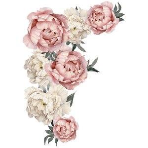 Image 5 - 71.5x102cm 큰 핑크 모란 꽃 벽 스티커 로맨틱 꽃 홈 장식 침실 거실 DIY 비닐 벽 전사 술