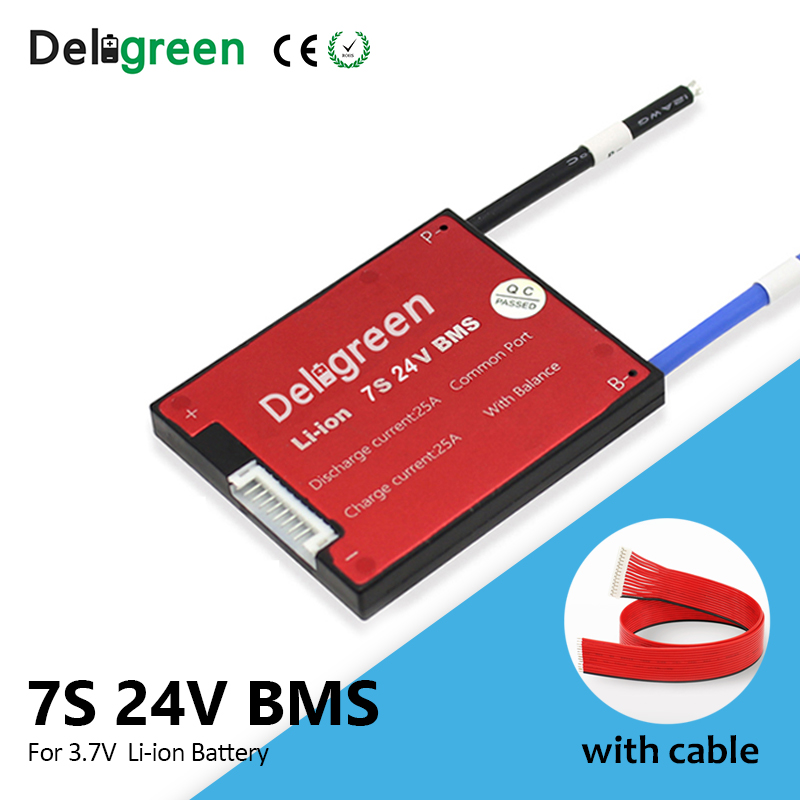 Deligreen 7S 15A 20A 30A 40A 50A 60A 24V PCM/PCB/BMS For 3.7V Lithium Battery Pack 18650 Lithion LiNCM Li-Polymer Scooter