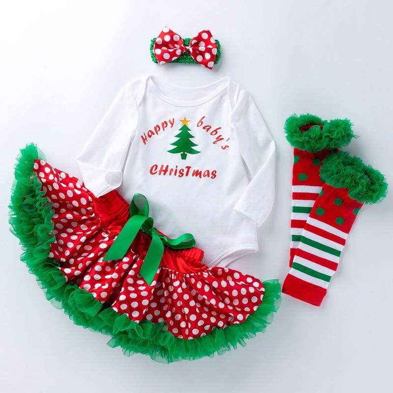 LZH Infant 2020 Winter New Baby Girls Letter Christmas Tree Long-sleeved Romper Tube Socks Headwear Four-piece 0 3 6 9 12 Months