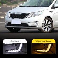 Car Flashing 1pair LED DRL Daytime Running Lights Daylight For KIA Rio K2 2011 2012 2013 2014 Fog light waterproof Car styling