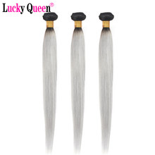 1B Grey Brazilian Straight Ombre Hair Bundles Brazilian Hair Weave Bundles Lucky Queen Remy Human Hair 3 Bundles Deal(China)