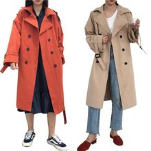 2019 Autumn Korean Retro Loose Lapel Women Khaki Trench Coat Fashion Casual Solid Color Double-breasted Long Simple Coat X цена 2017