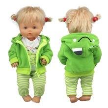 Adorável terno de sapo verde para 42 cm nenuco boneca 17 polegadas roupas de boneca de bebê