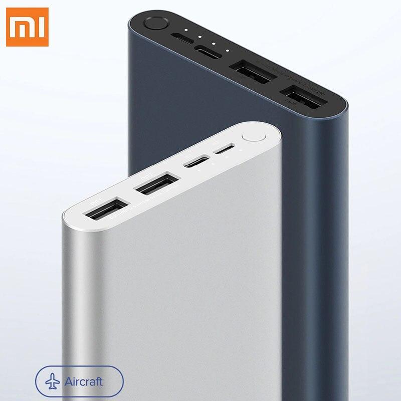 Xiaomi Mi Power Bank 3 10000 мАч/5000 мАч Быстрая зарядка версия Micro-USB USB-C Двусторонняя 18 Вт Батарея для путешествий Powerbank для iPhone XS